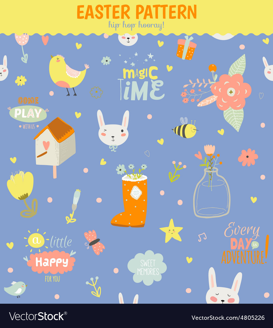 Cute pattern with animals bunny birds flowers