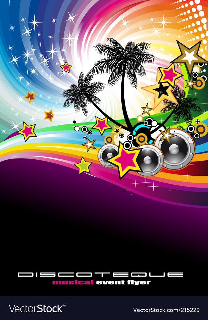 Tropical music event disco flyer vector