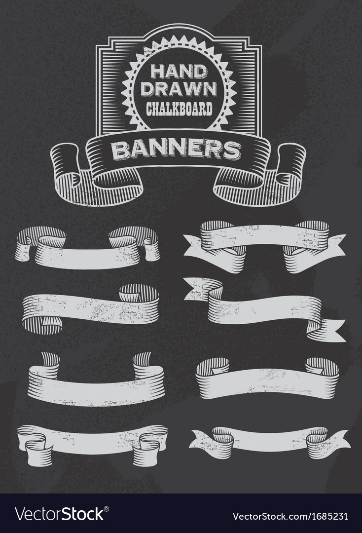Retro chalkboard banner and ribbon design set vector