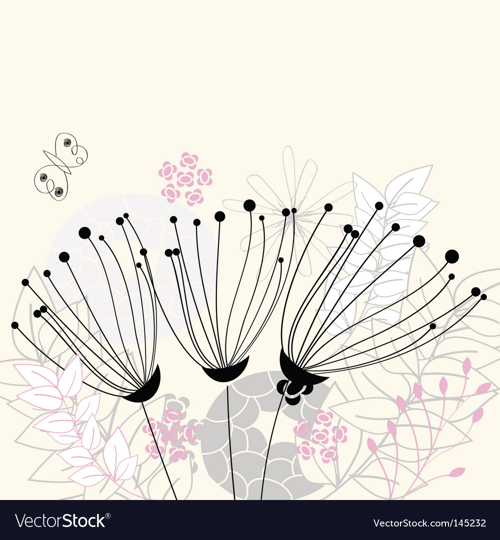 Three flowers vector