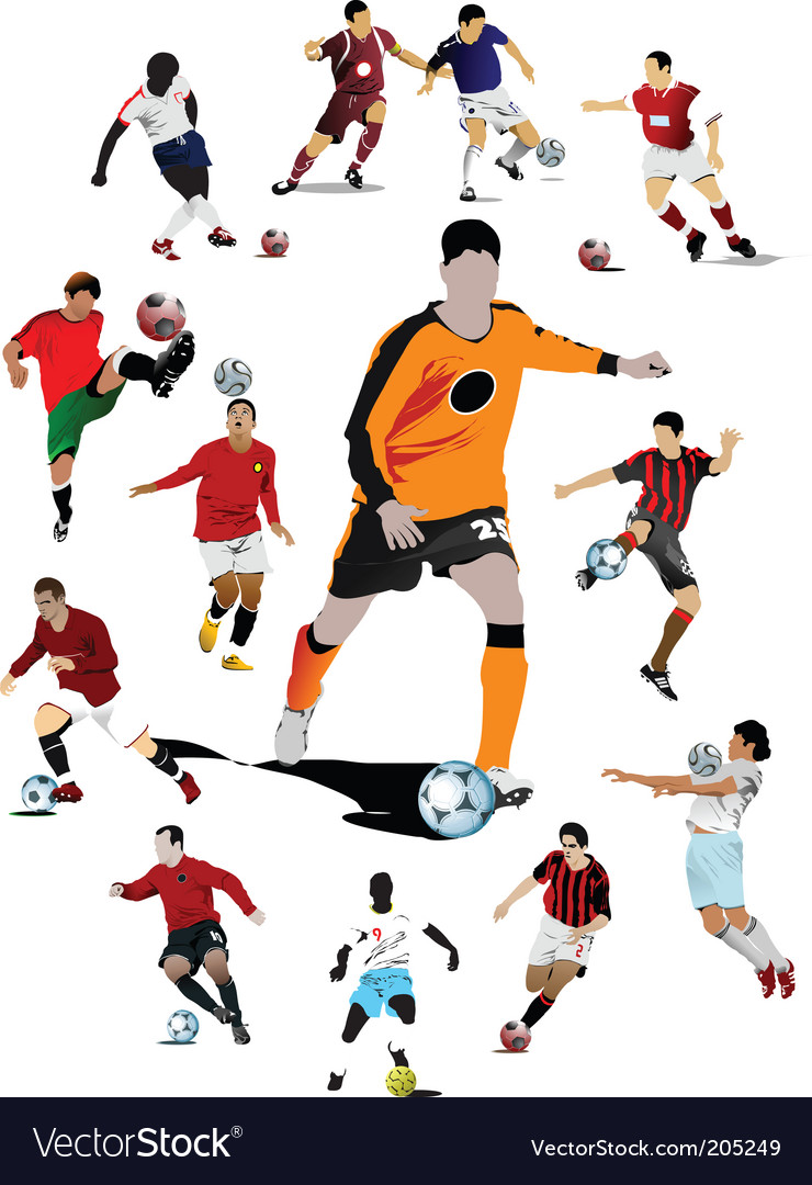 Soccer players poster vector