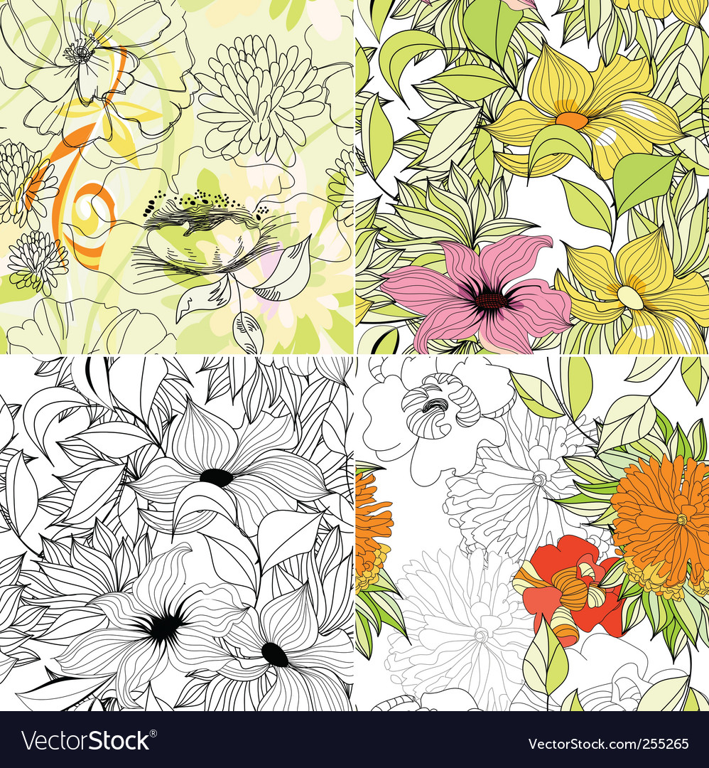 Set of floral seamless background vector