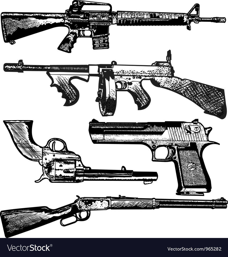 Grunge gun collection vector