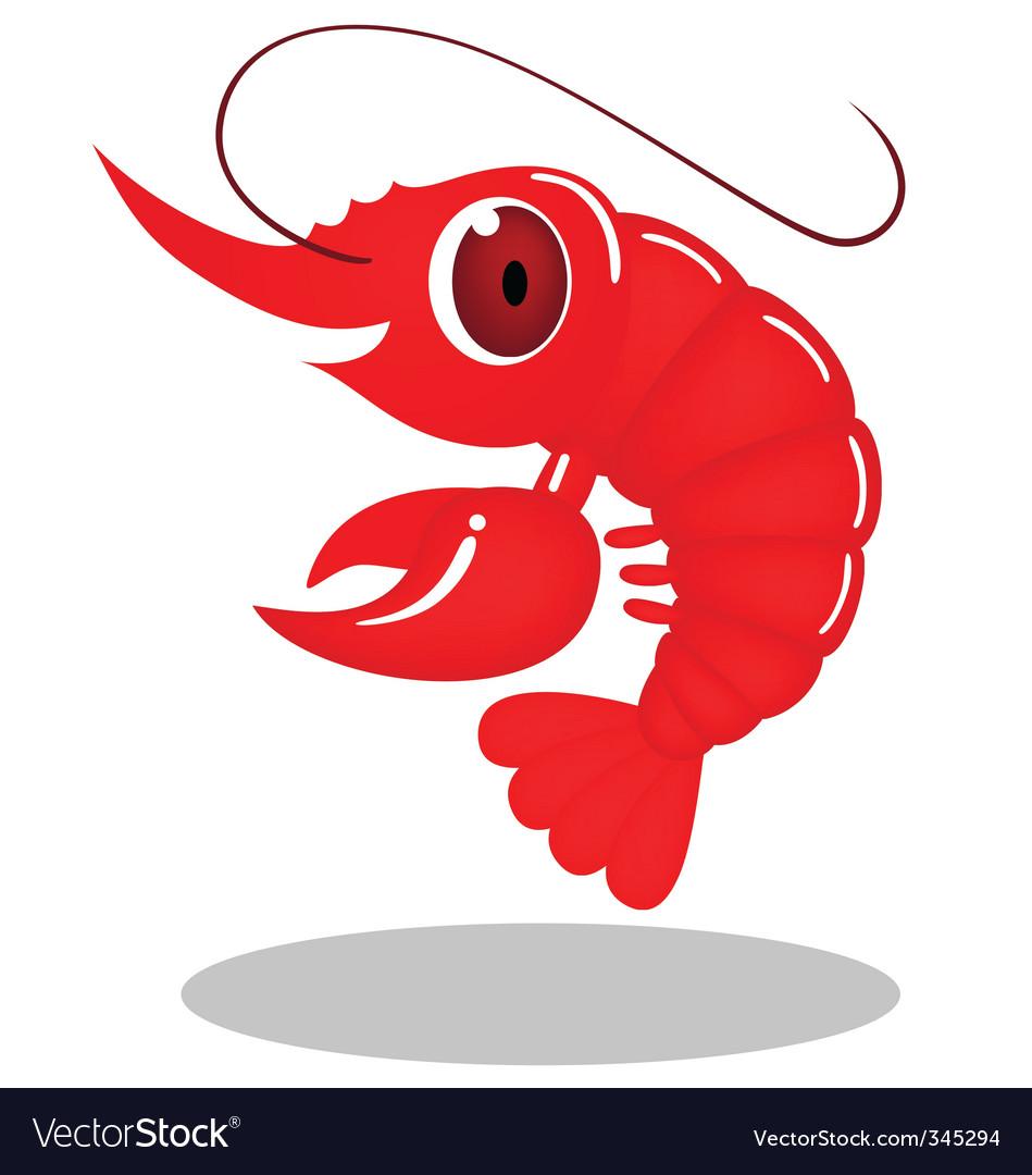 Cute shrimp cartoon vector by dagadu - Image #345294 - VectorStock