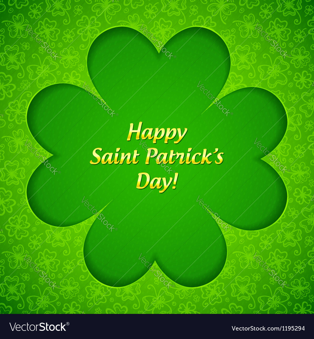 Green cutout clover shape with inner shadow vector