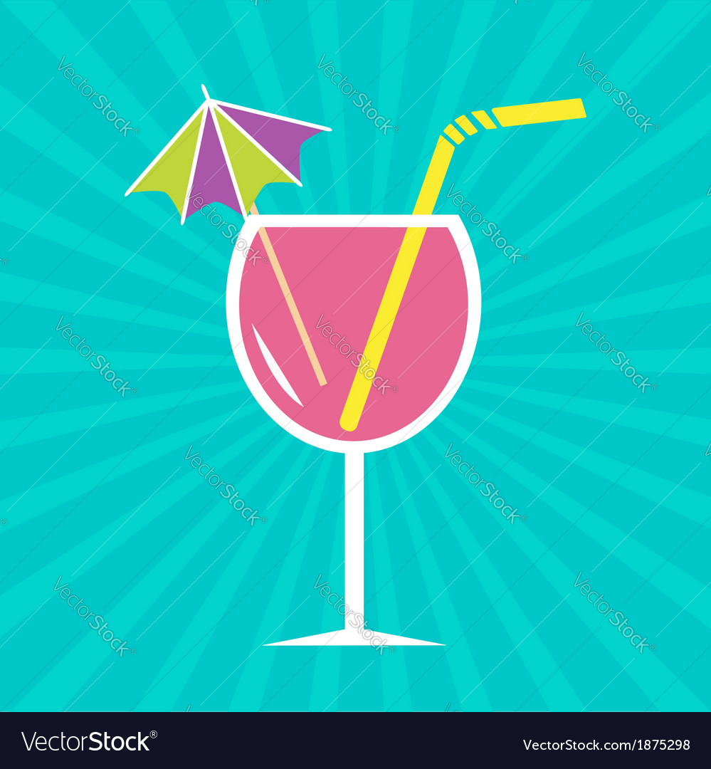 Pink cocktail glass with drinking straw umbrella vector