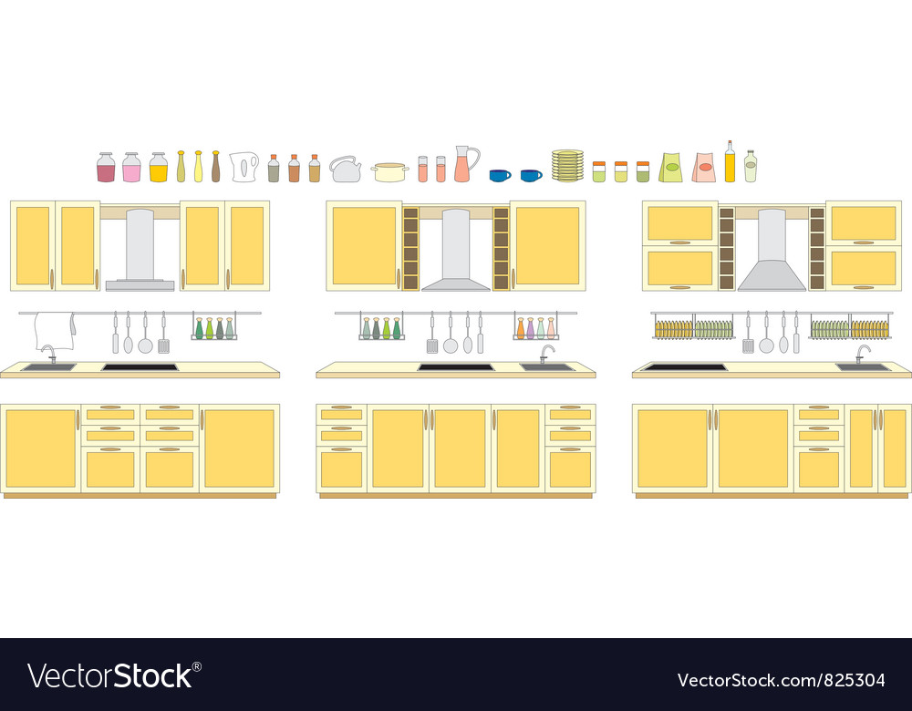 Sets of kitchen furniture vector