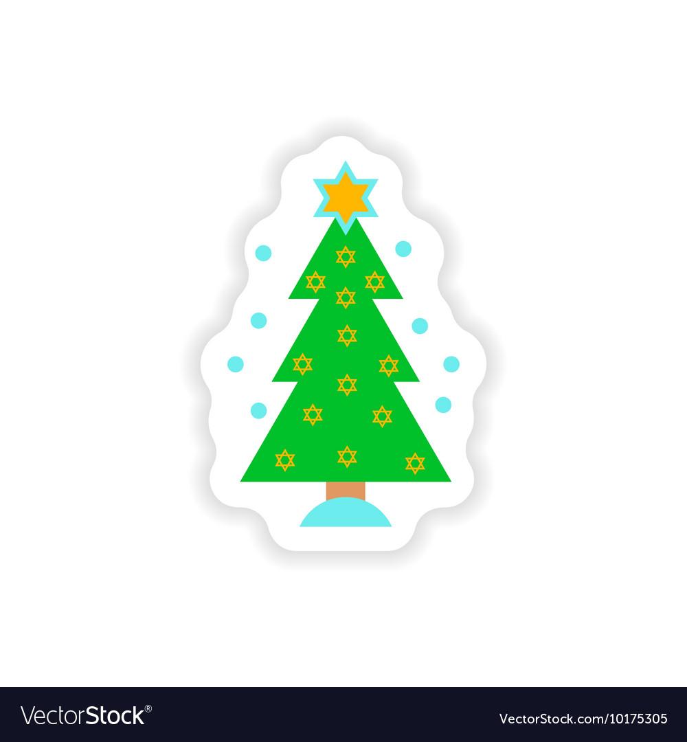 Paper sticker on white background hanukkah tree