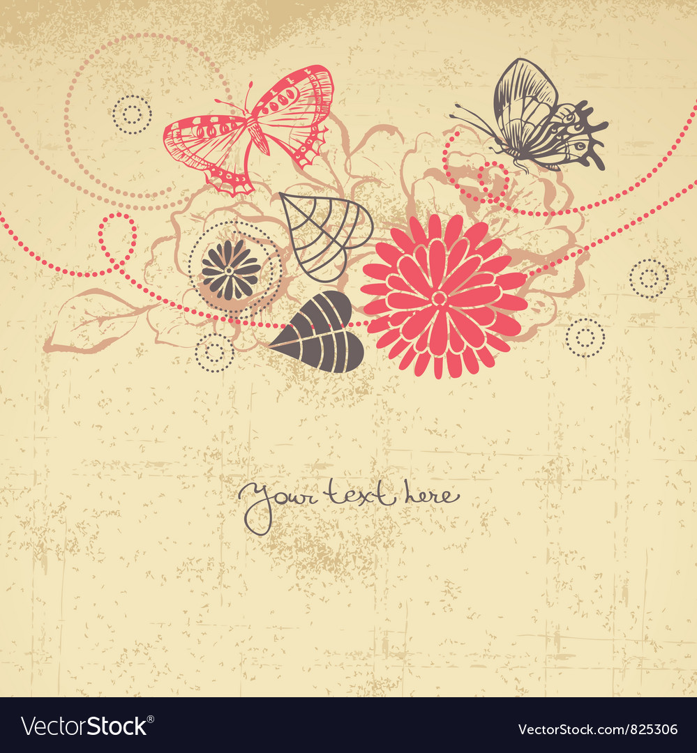 Abstract floral background with butterflies vector