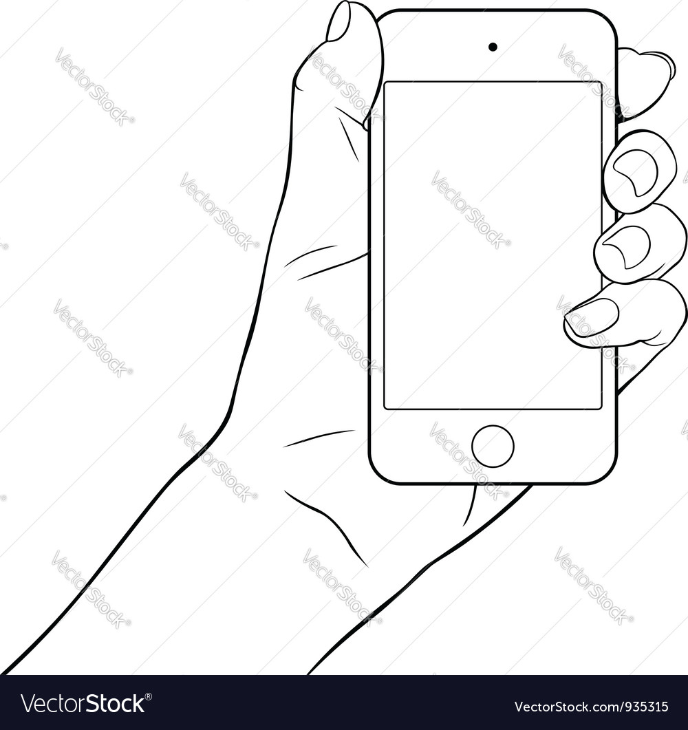 Hand holding a small tablet pc vector