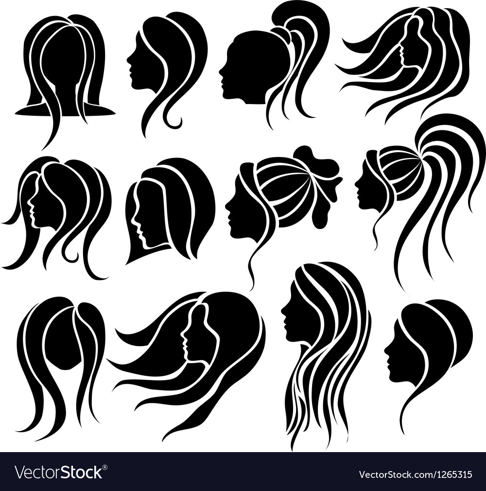 Woman face and hair icon set vector