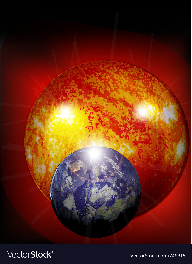 Earth and sun in cosmos vector