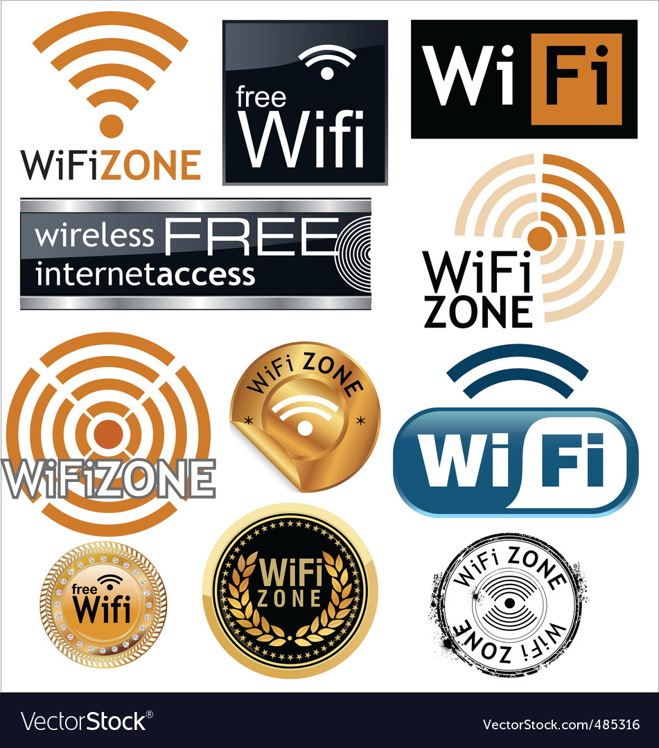 Free wifi zone signs vector