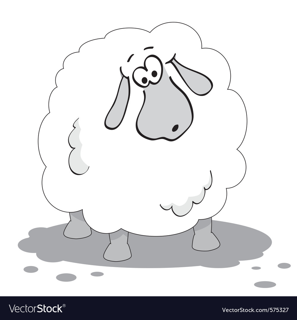 Cartoon sheep in black and white vector