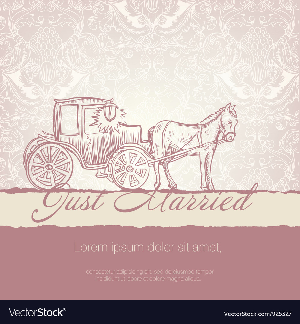 Wedding vintage card vector