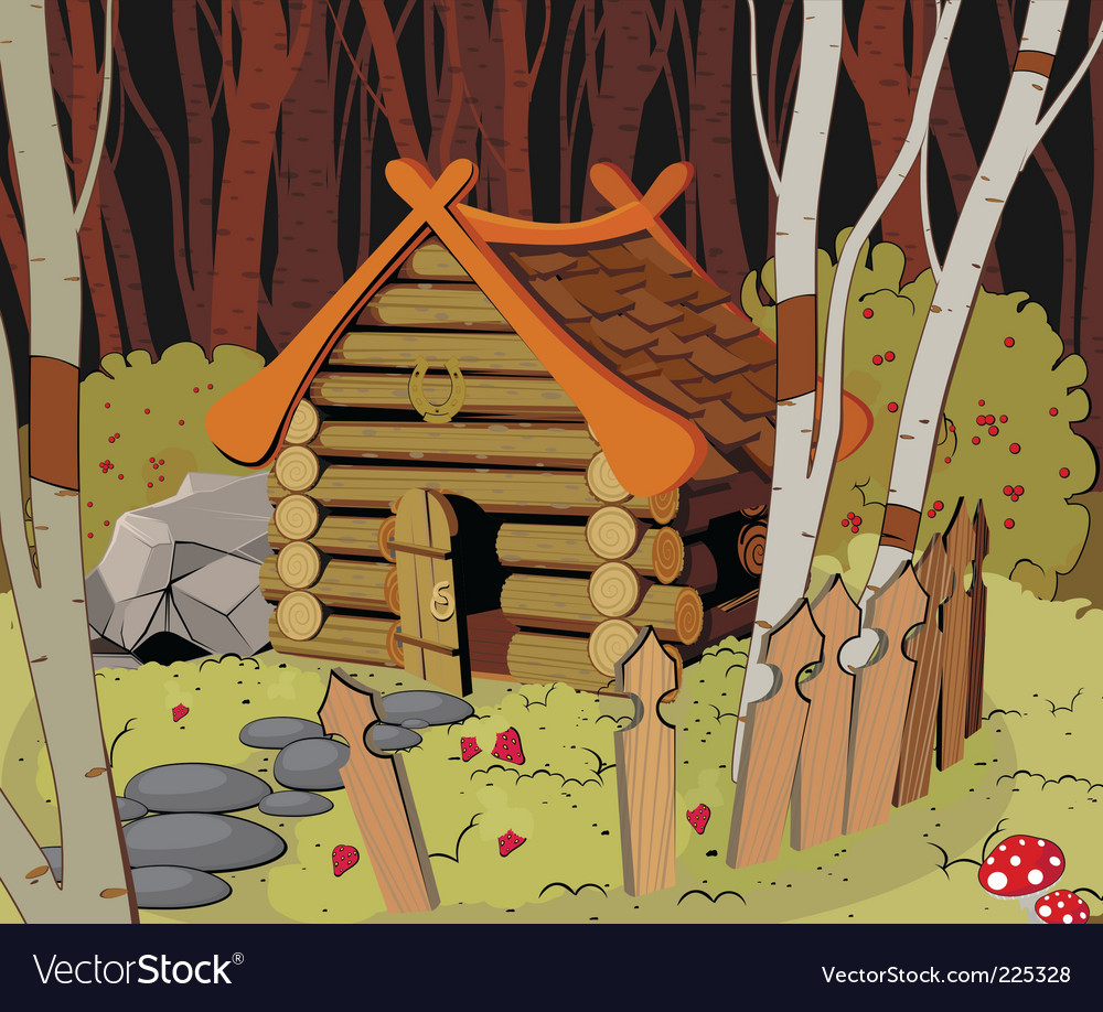 Little house in the forest vector