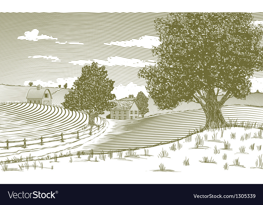 Woodcut rural scene vector