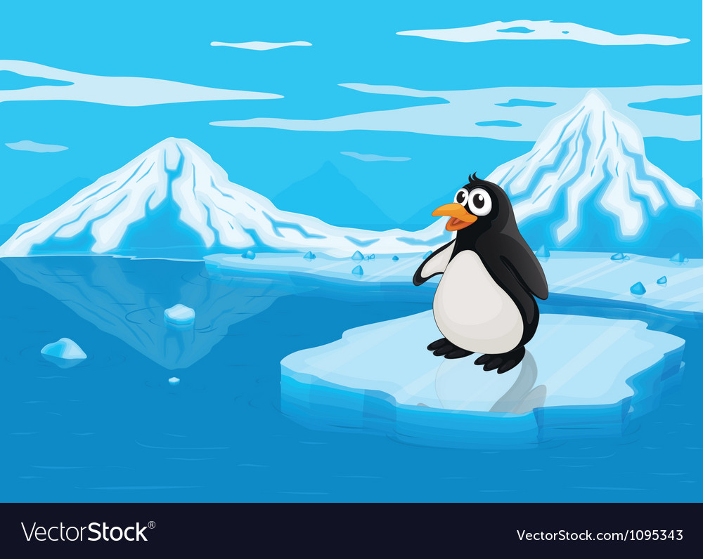 Penguine on ice lce land vector