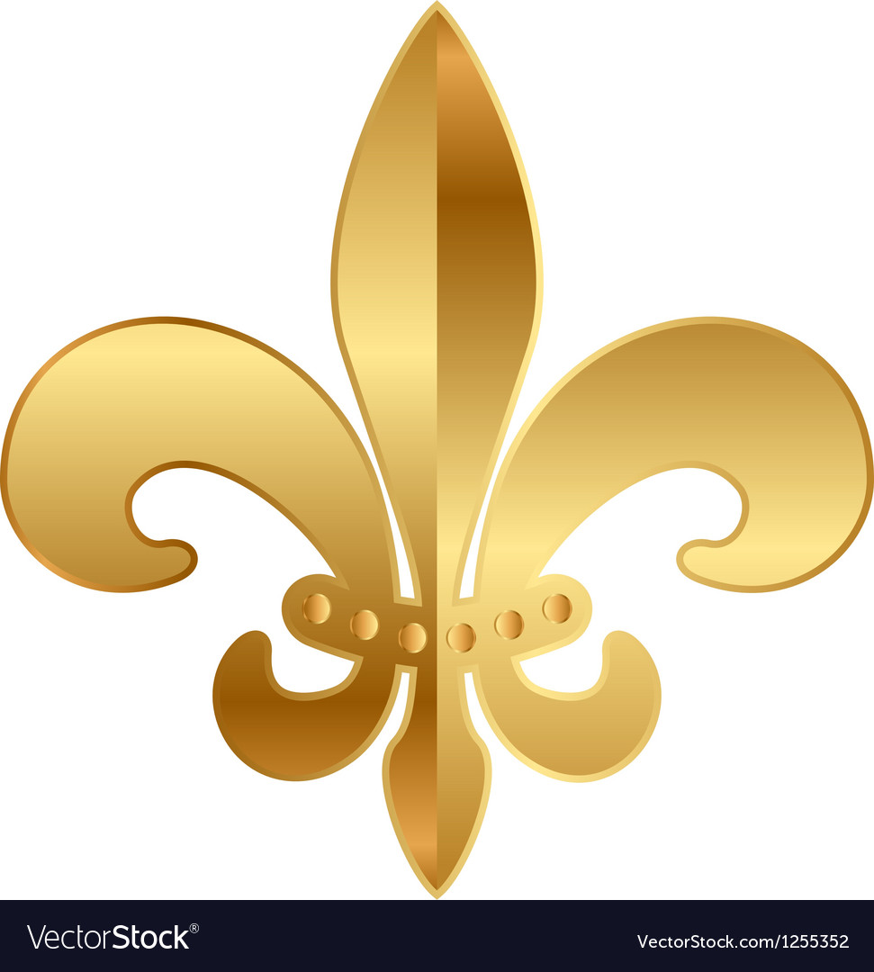 Gold fleurdelis ornament vector