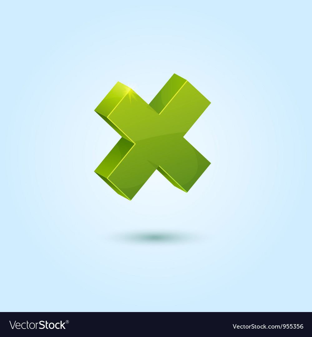 Green x mark symbol isolated on blue background vector