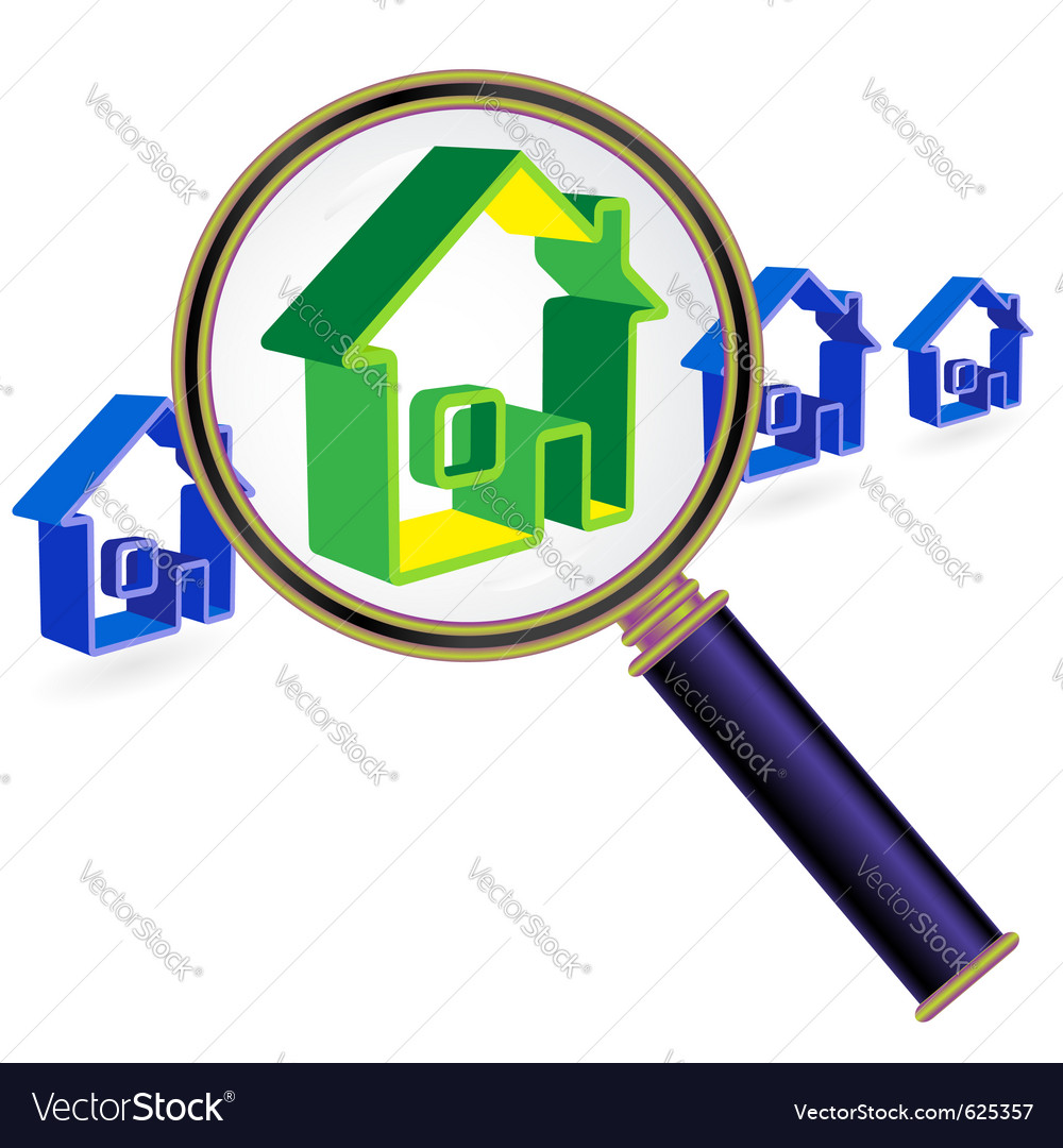 House sign under magnifier glass vector