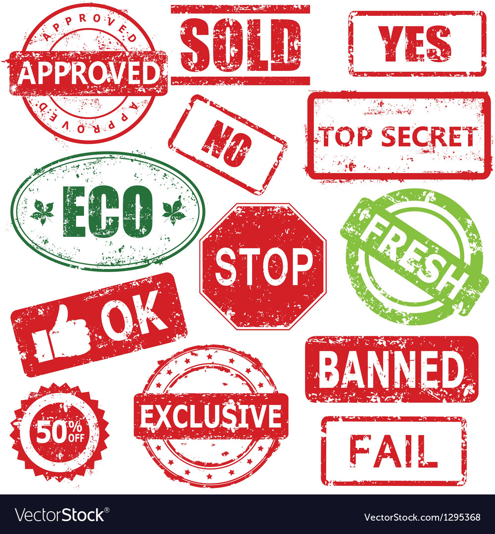 Set of stamps and labels vector