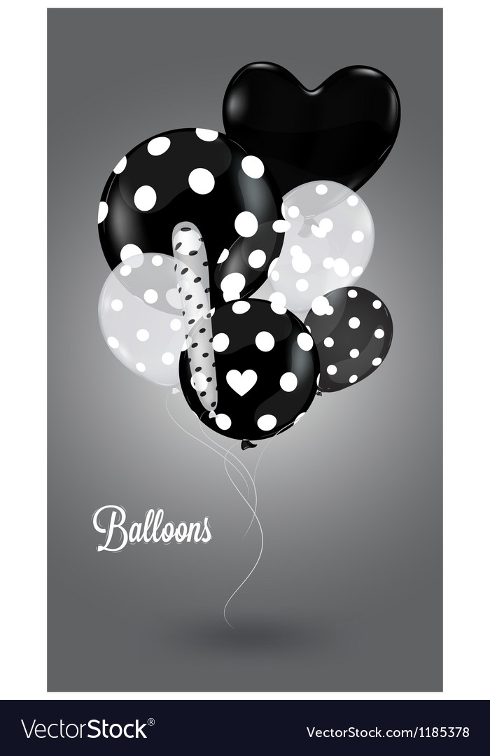 Black and white composition with balls vector