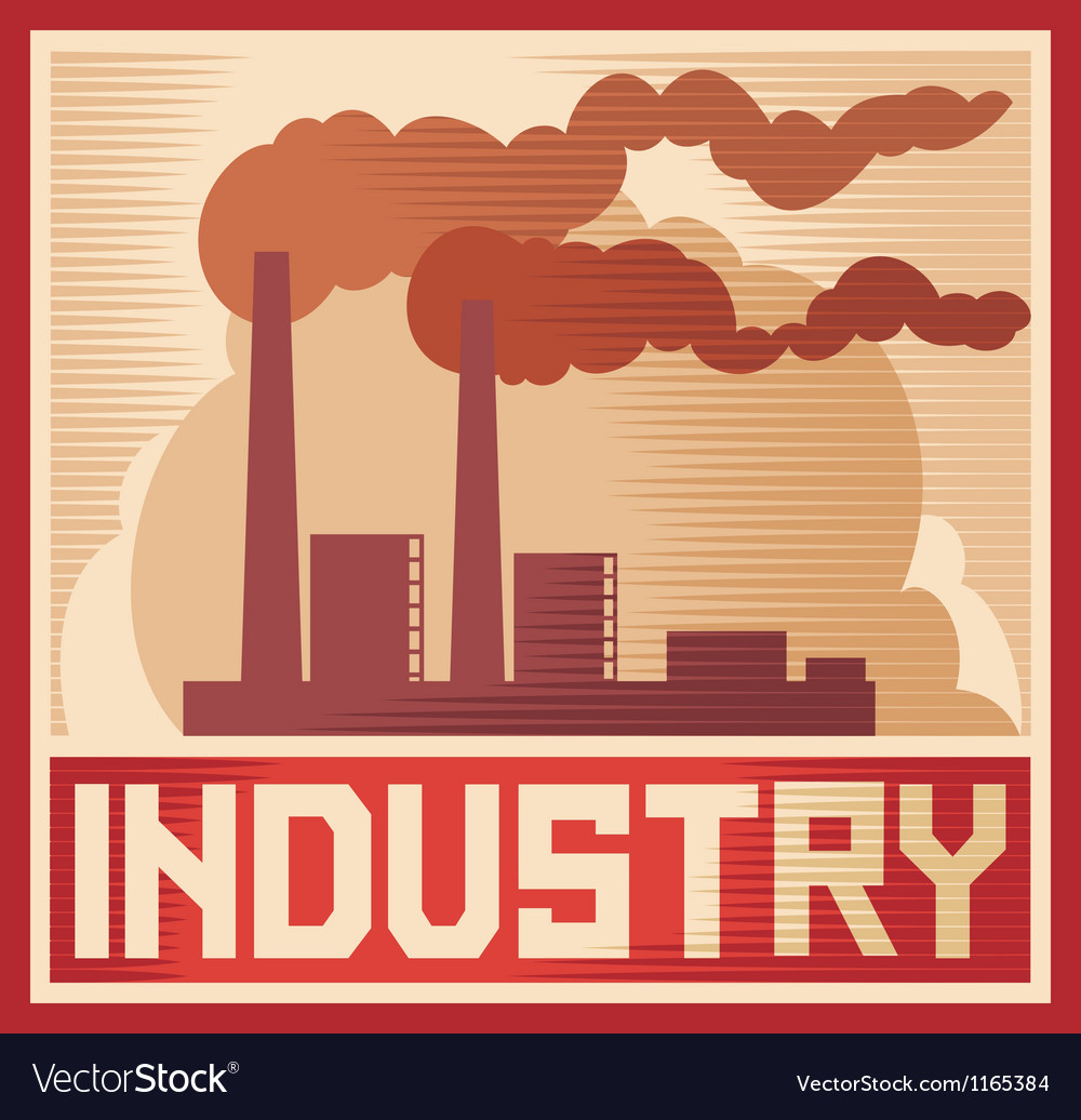 Industry poster  industrial plant vector