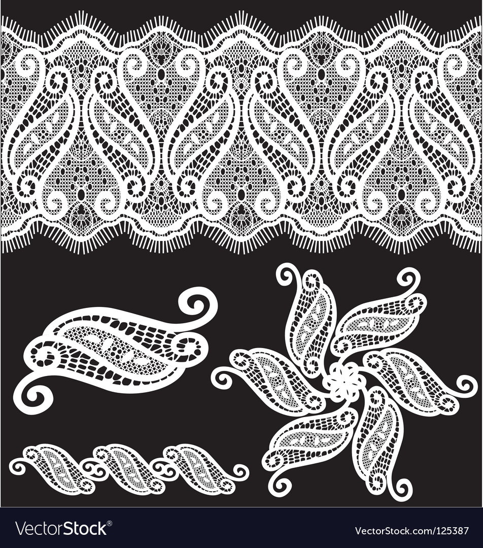 Embroidered lace design vector