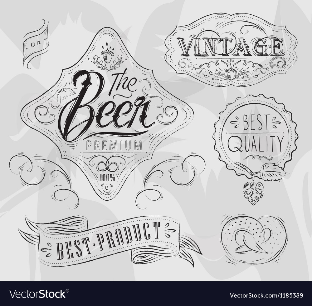 Vintage elements for pub vector