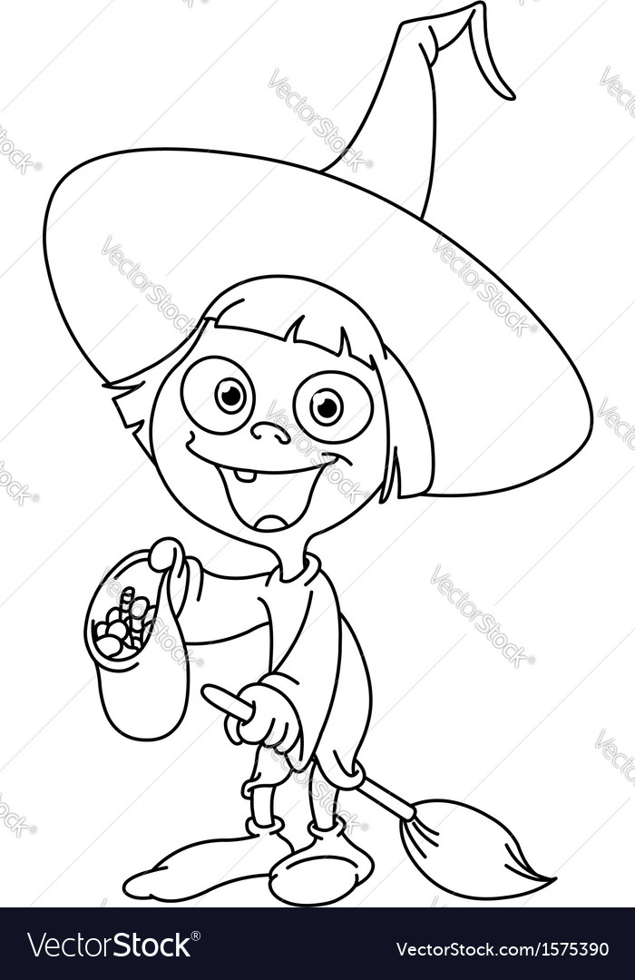 Outlined witch kid vector
