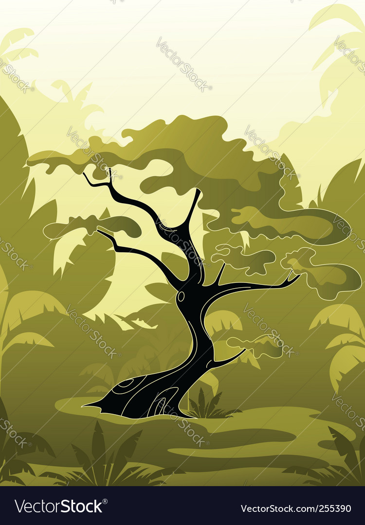 Tree in jungle vector