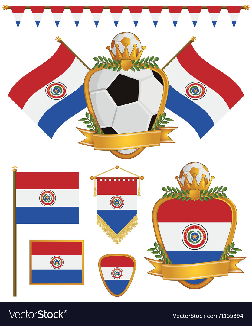 Paraguay flags vector