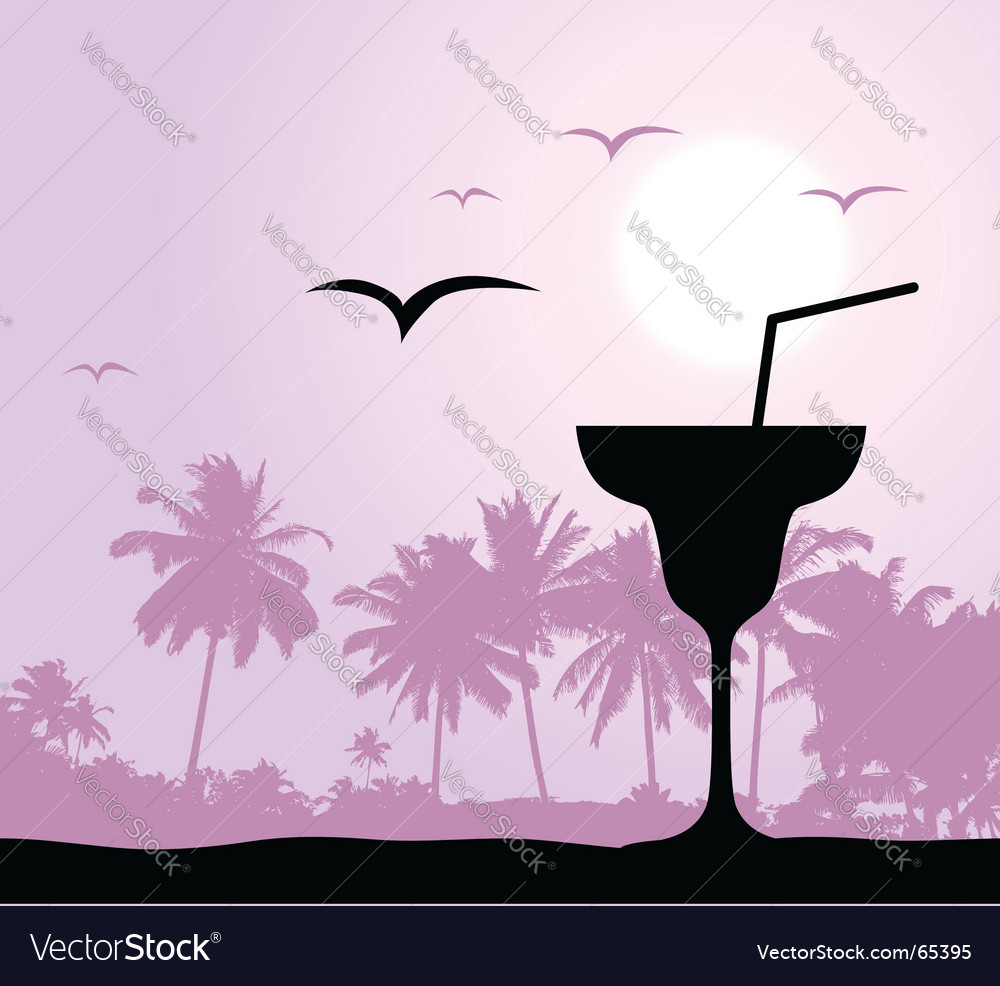 Cocktail party on the beach vector