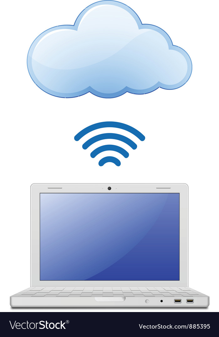 Laptop and cloud computing vector