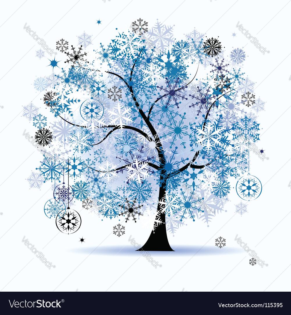 Winter tree snowflakes christmas vector