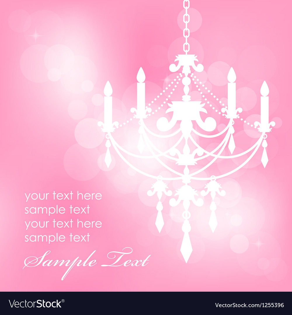 Pink background with chandelier vector