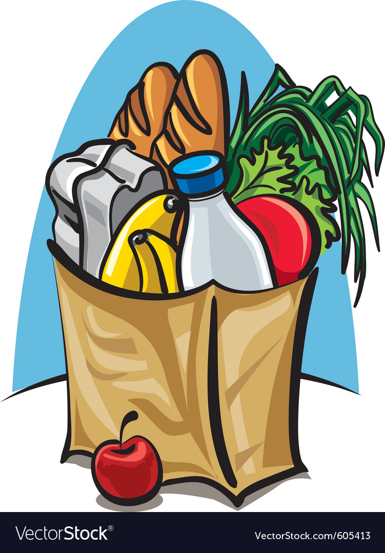 Shopping bag with food vector