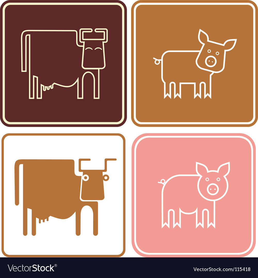 Pig and cow sign vector
