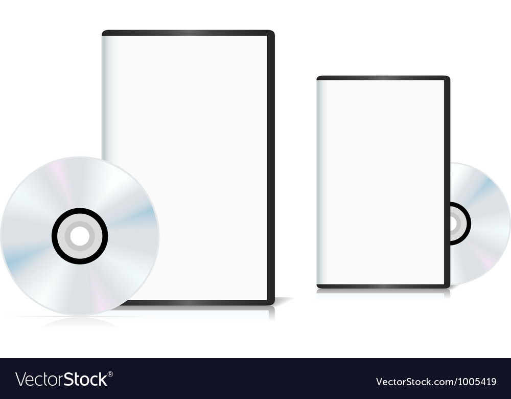 Set of dvd cases with a blank cover and shiny dvd vector