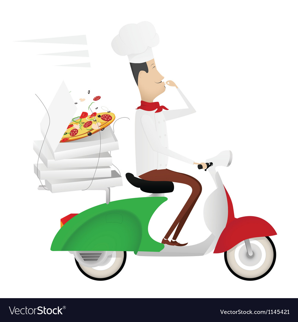 Funny chef delivering pizza on a moped vector