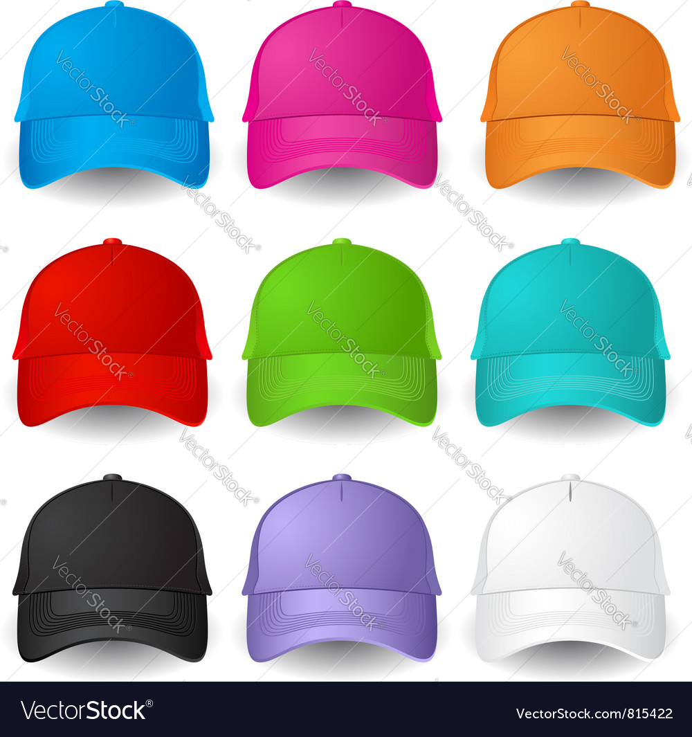 Set of baseball caps vector