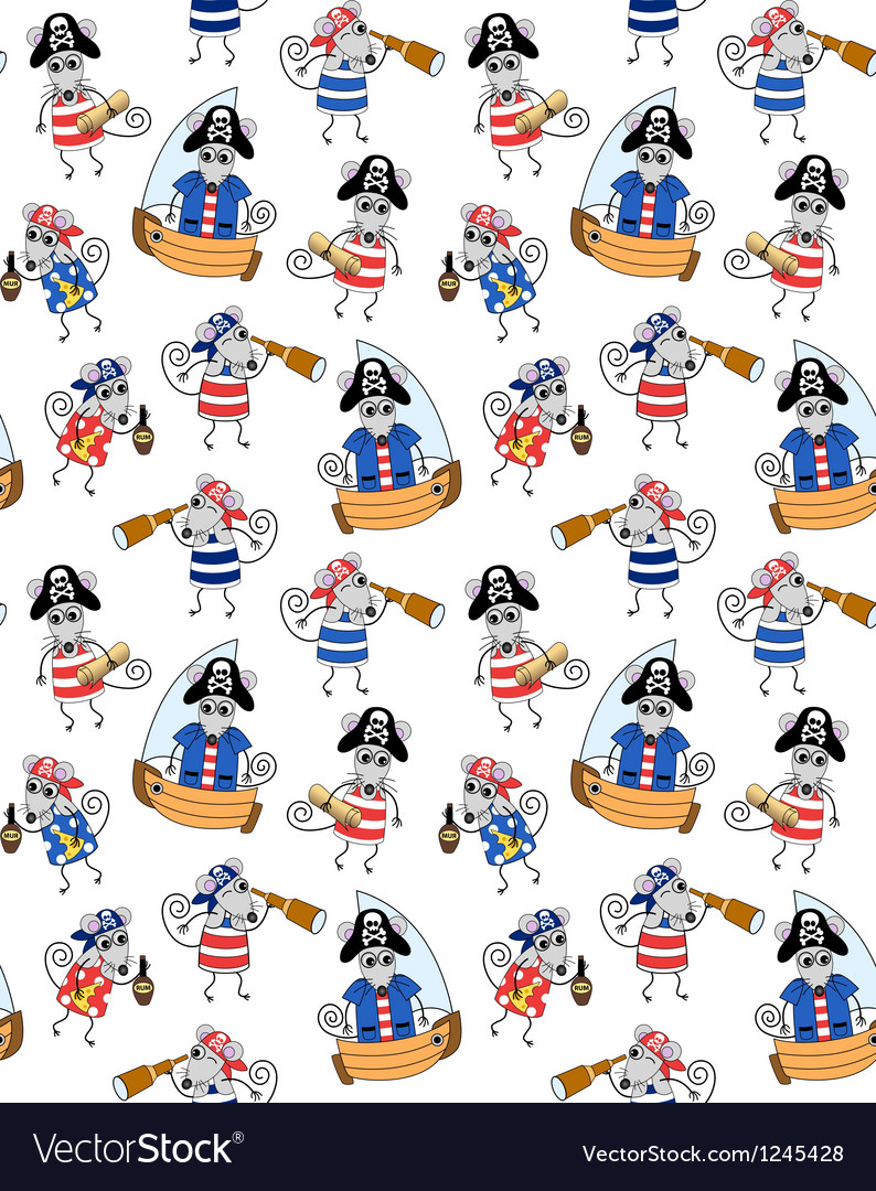 Seamless background with mouses pirates vector