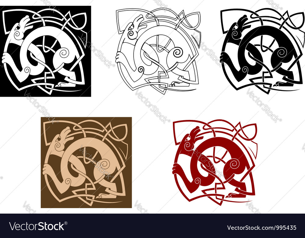 Celtic dog with knots vector