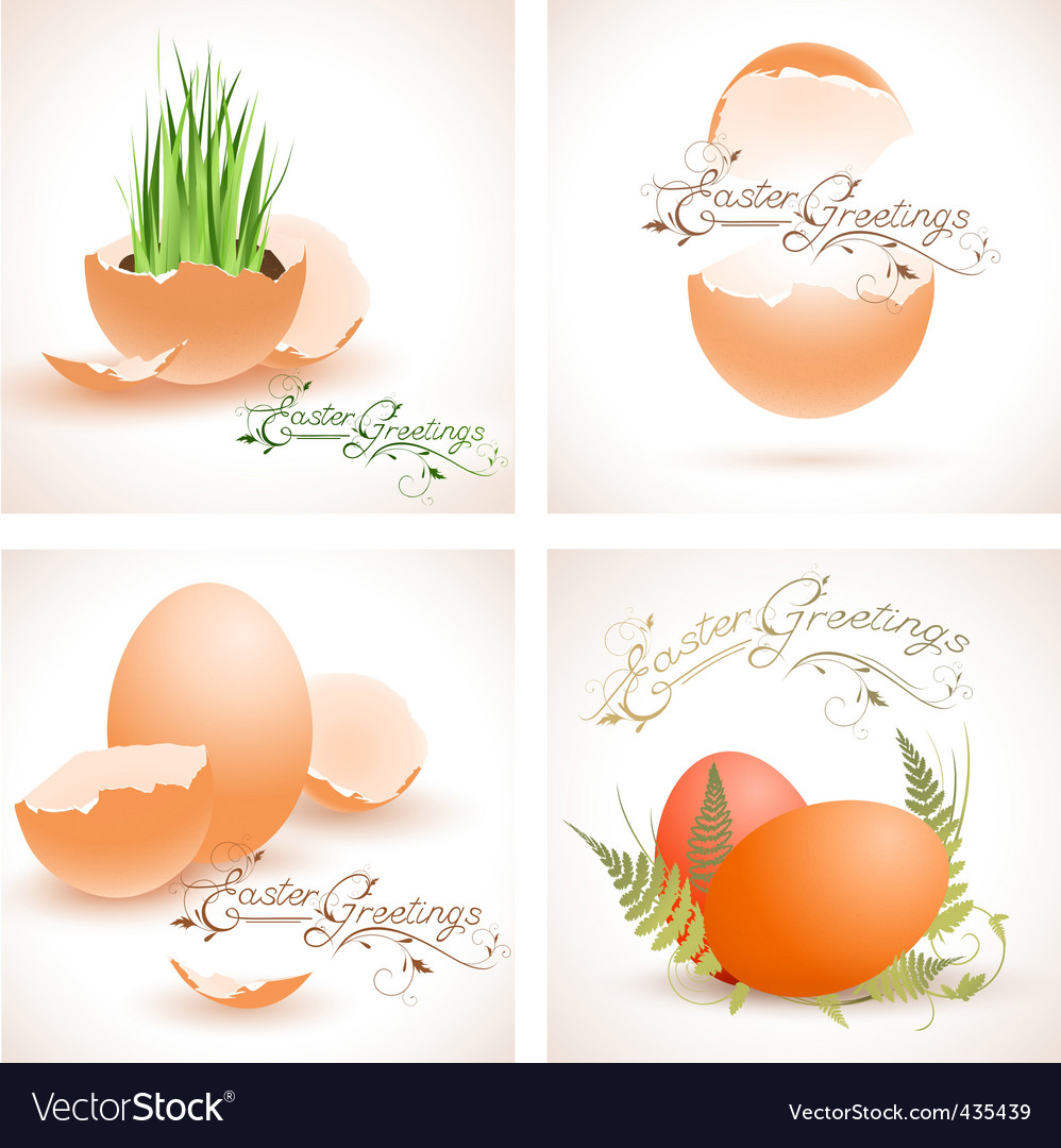 Easter postcards collection vector