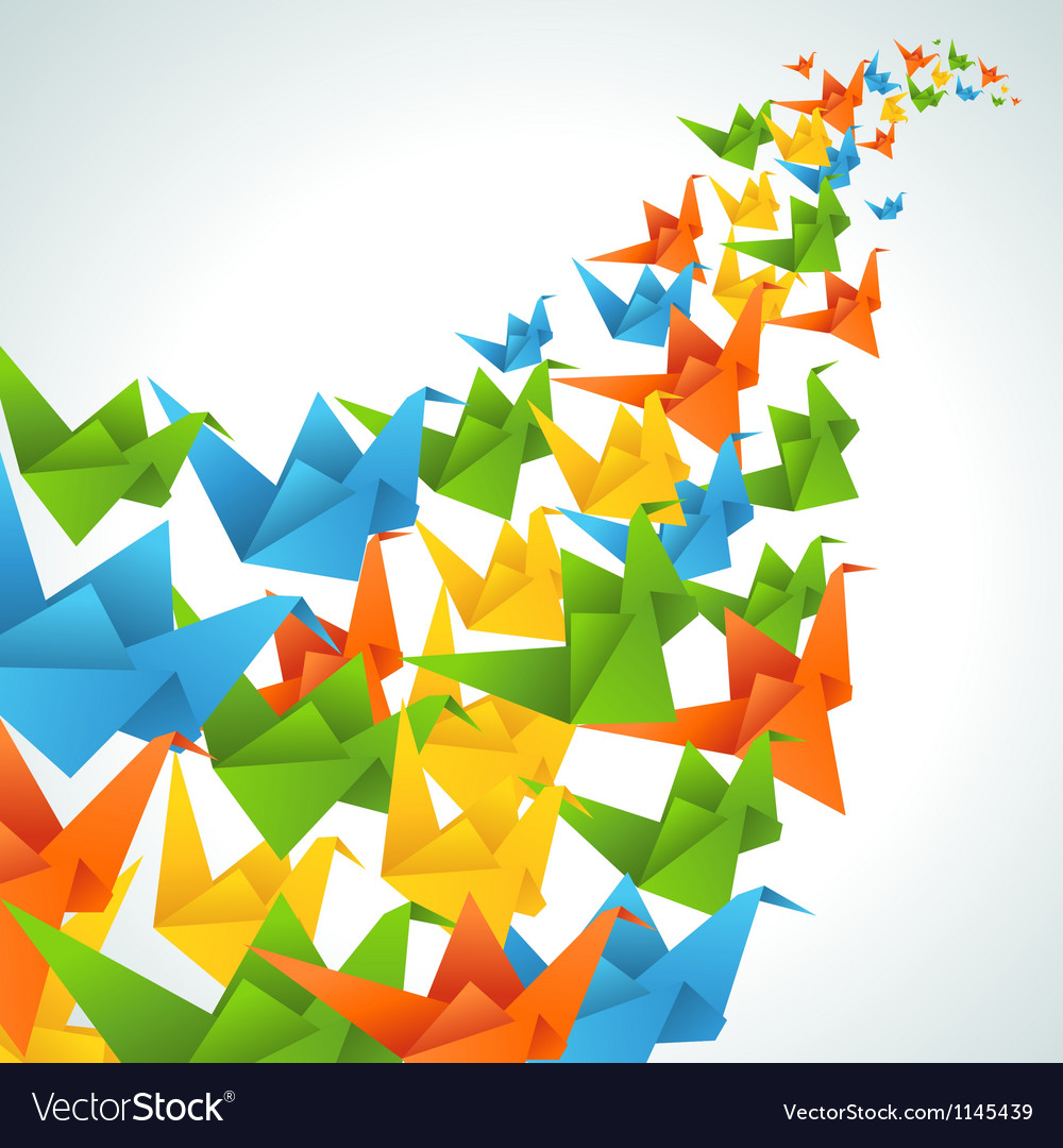 Origami paper birds flight abstract background vector