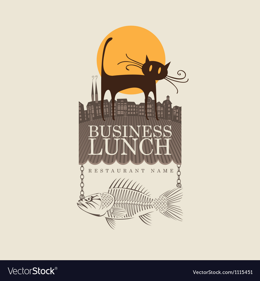 Cat and fish vector