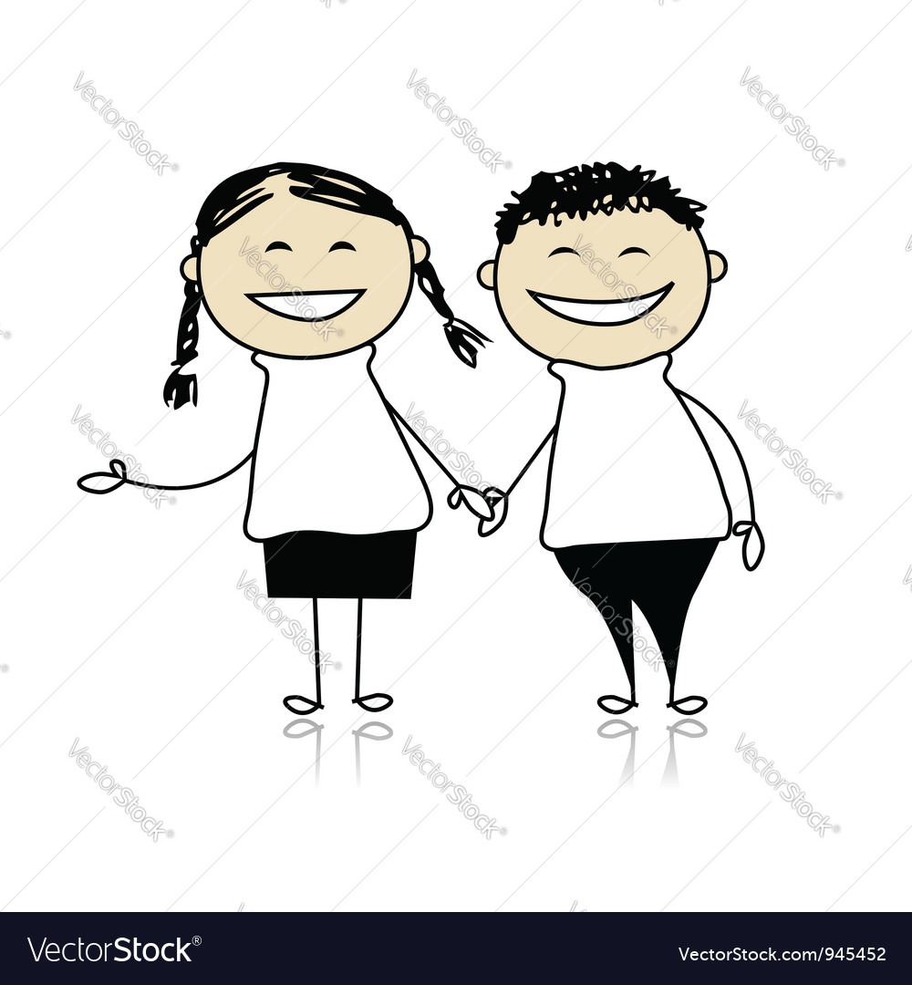 Funny couple laugh  boy and girl together vector