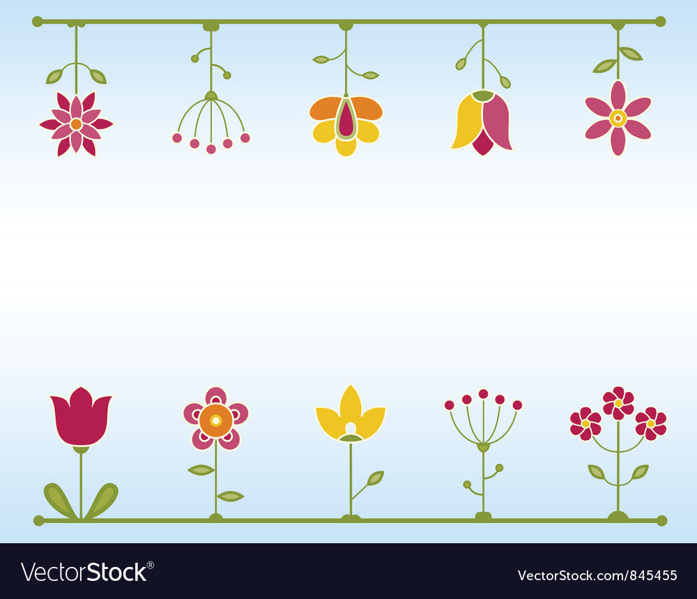 Retro flower frame vector