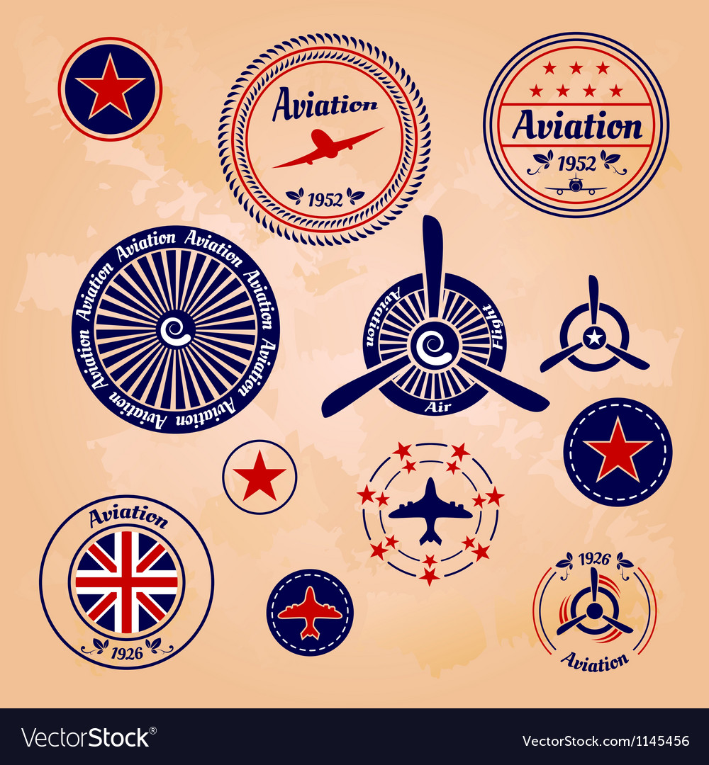 Air badges and labels vector